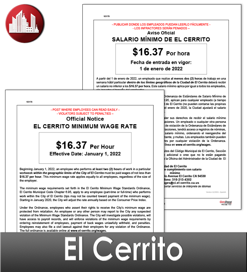 El Cerrito City Laminate Workplace Poster Package