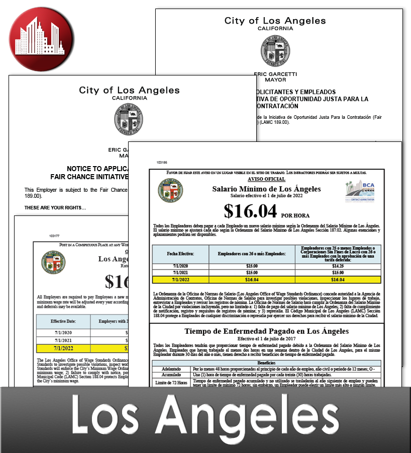 Los Angeles Laminated City Workplace Poster Package