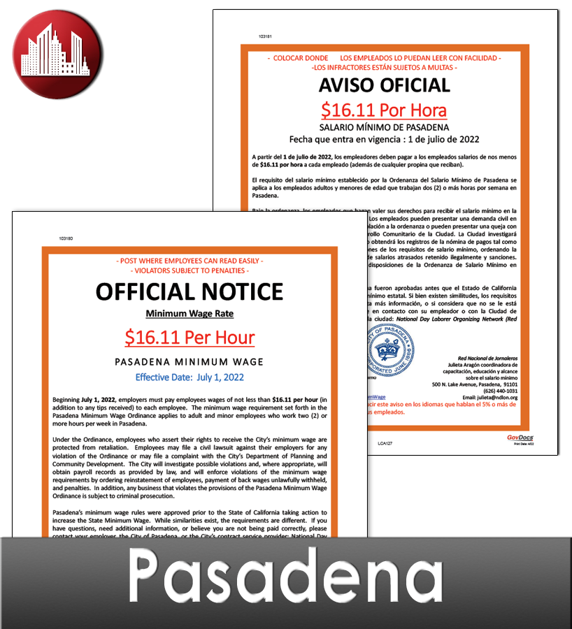 Pasadena City Laminate Workplace Poster Package