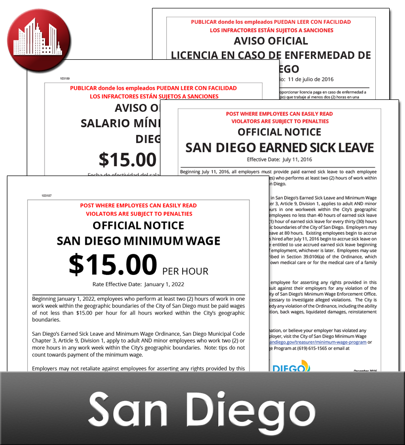 San Diego Laminated City Workplace Poster Package