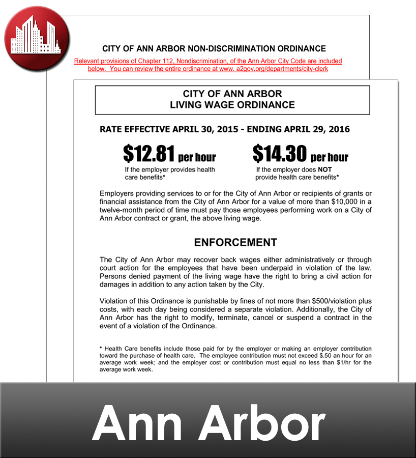 Ann Arbor City Laminated Workplace Poster Package