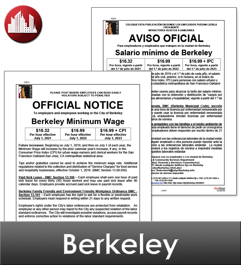 Berkeley City Laminated Workplace Poster Package