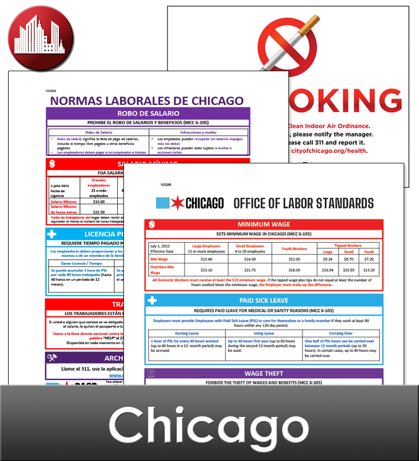 Chicago City Laminated Workplace Poster Package