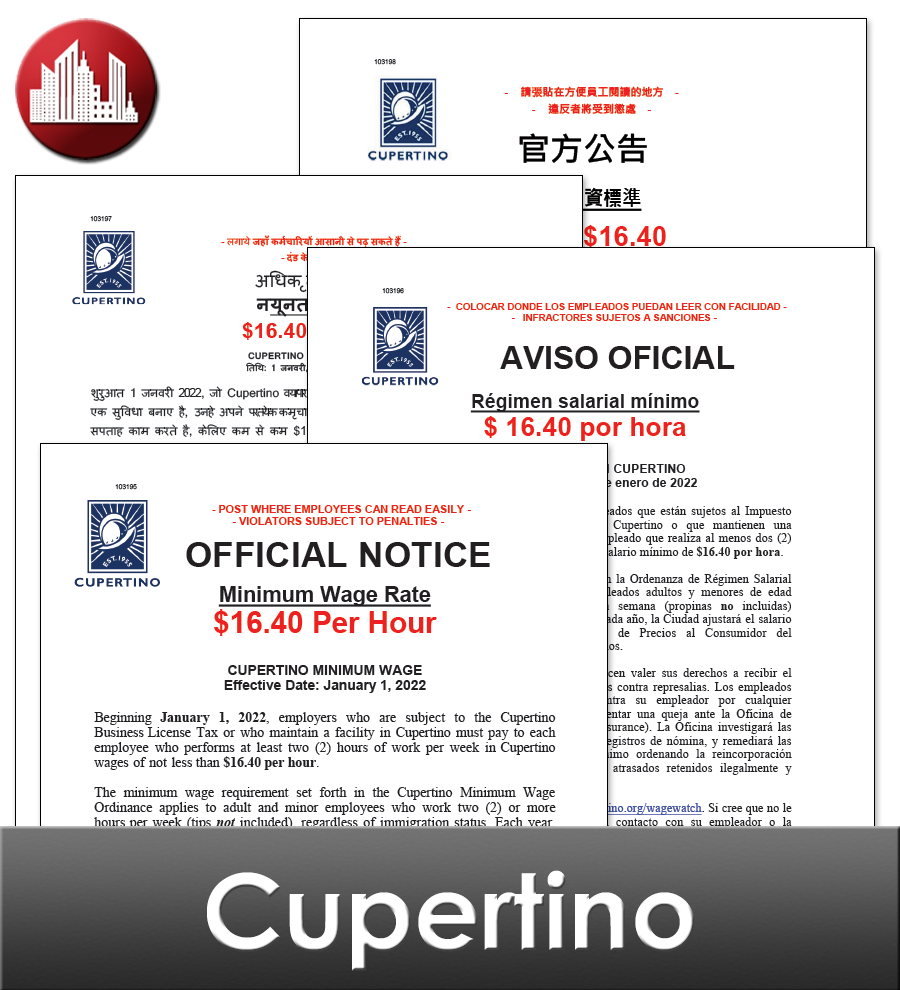 Cupertino City Laminated Workplace Poster Package