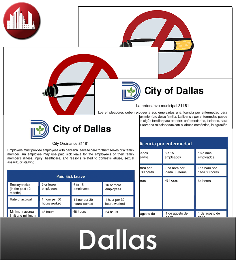 Dallas Laminated City Workplace Poster Package