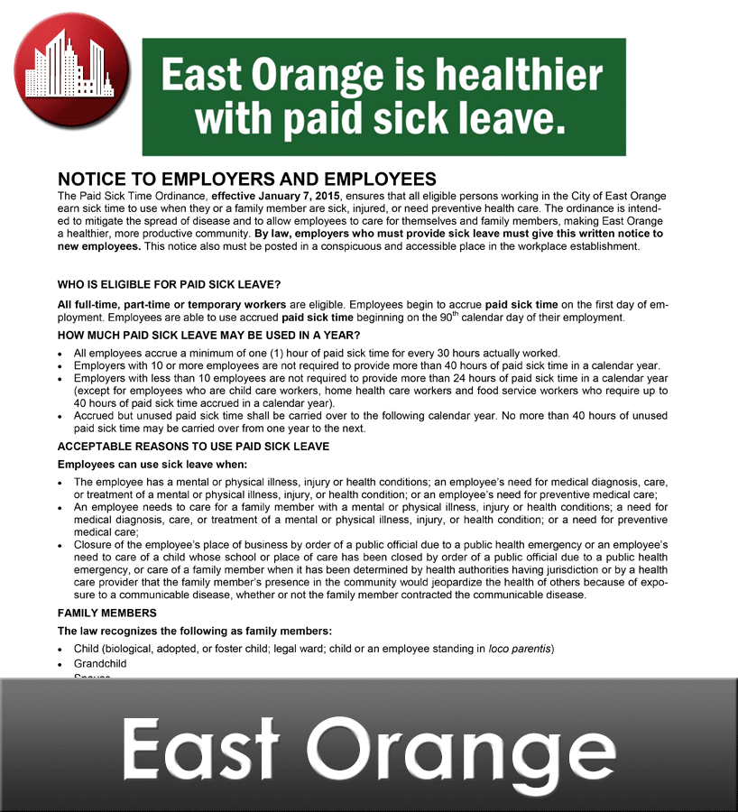 East Orange City Laminated Workplace Poster Package