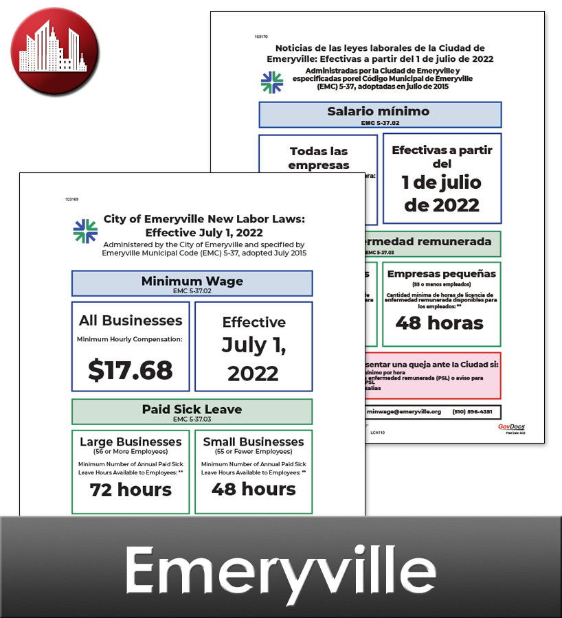 Emeryville City Laminated Workplace Poster Package