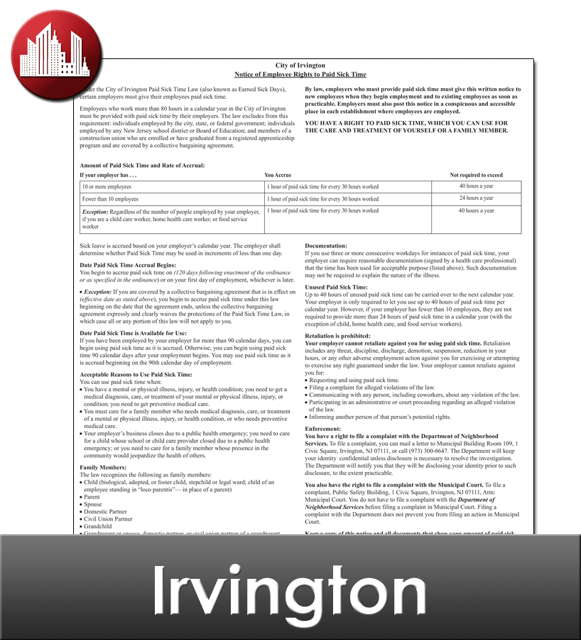 Irvington City Laminated Workplace Poster Package