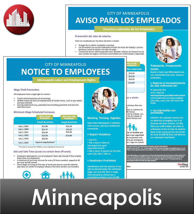Minneapolis Laminated City Workplace Poster Package