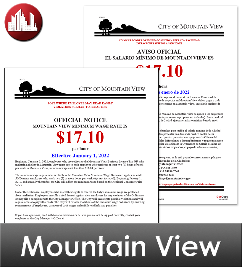 Mountain View City Laminated Workplace Poster Package