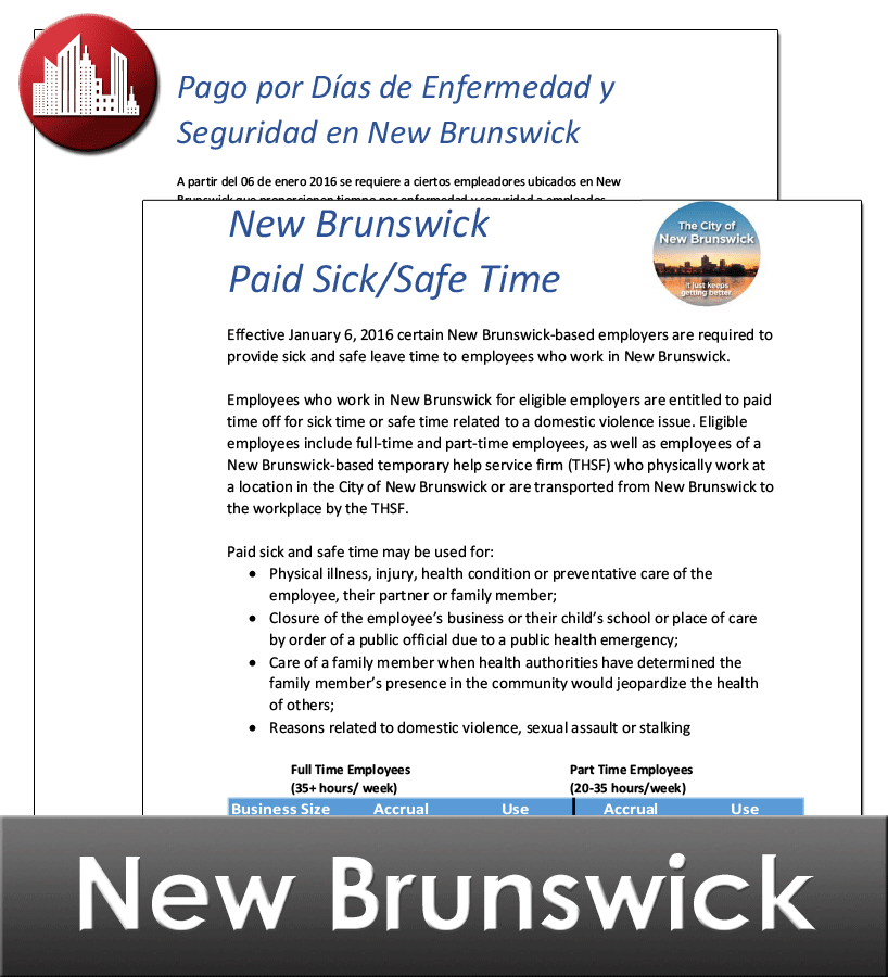 New Brunswick, NJ City Laminated Workplace Poster Package