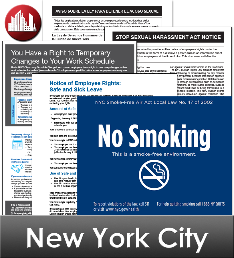 New York City Laminated City Workplace Poster Package
