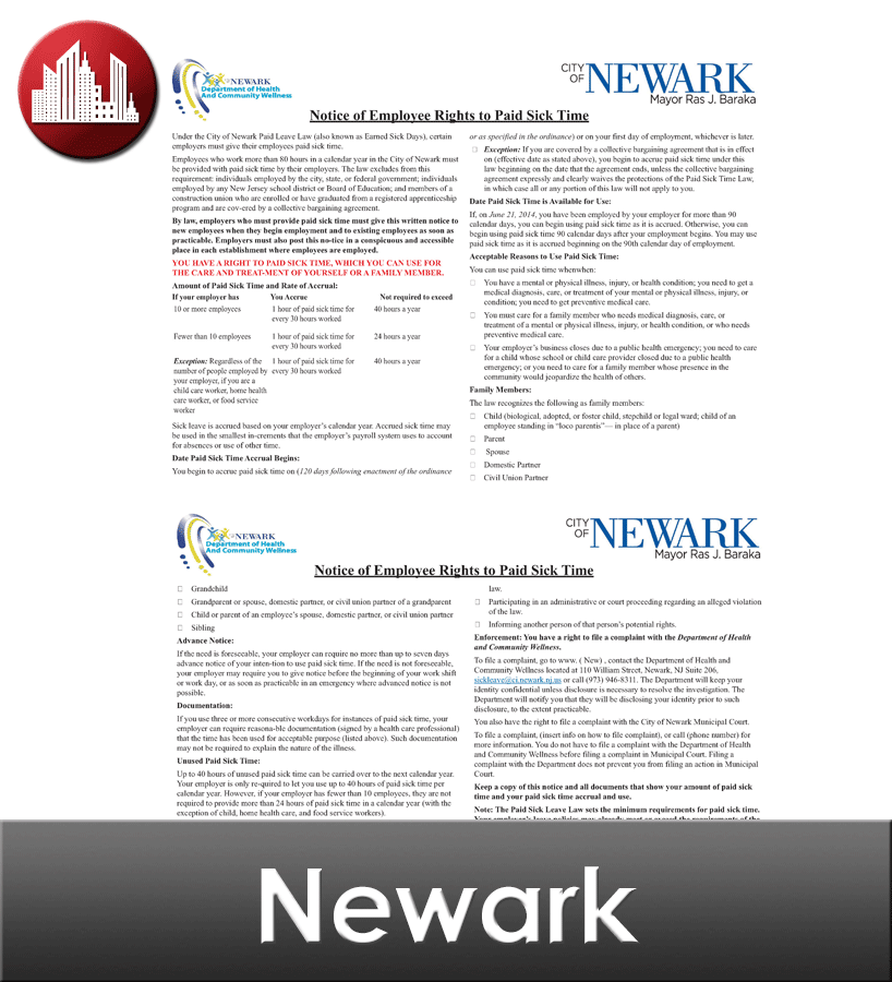 Newark Laminated City Workplace Poster Package