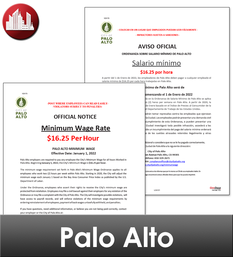 Palo Alto City Laminated Workplace Poster Package
