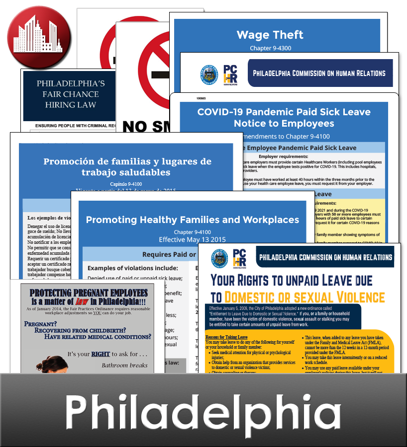 Philadelphia Laminated City Workplace Poster Package