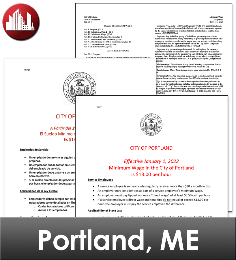 Portland, ME Laminated City Workplace Poster Package