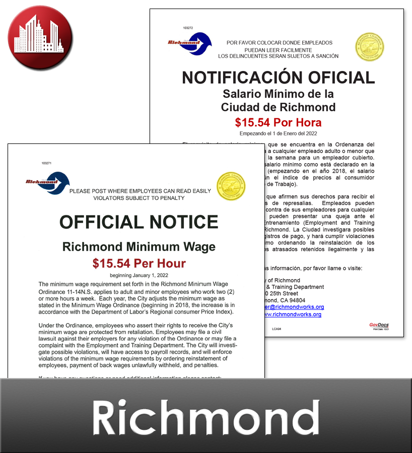 Richmond City Laminated Workplace Poster Package