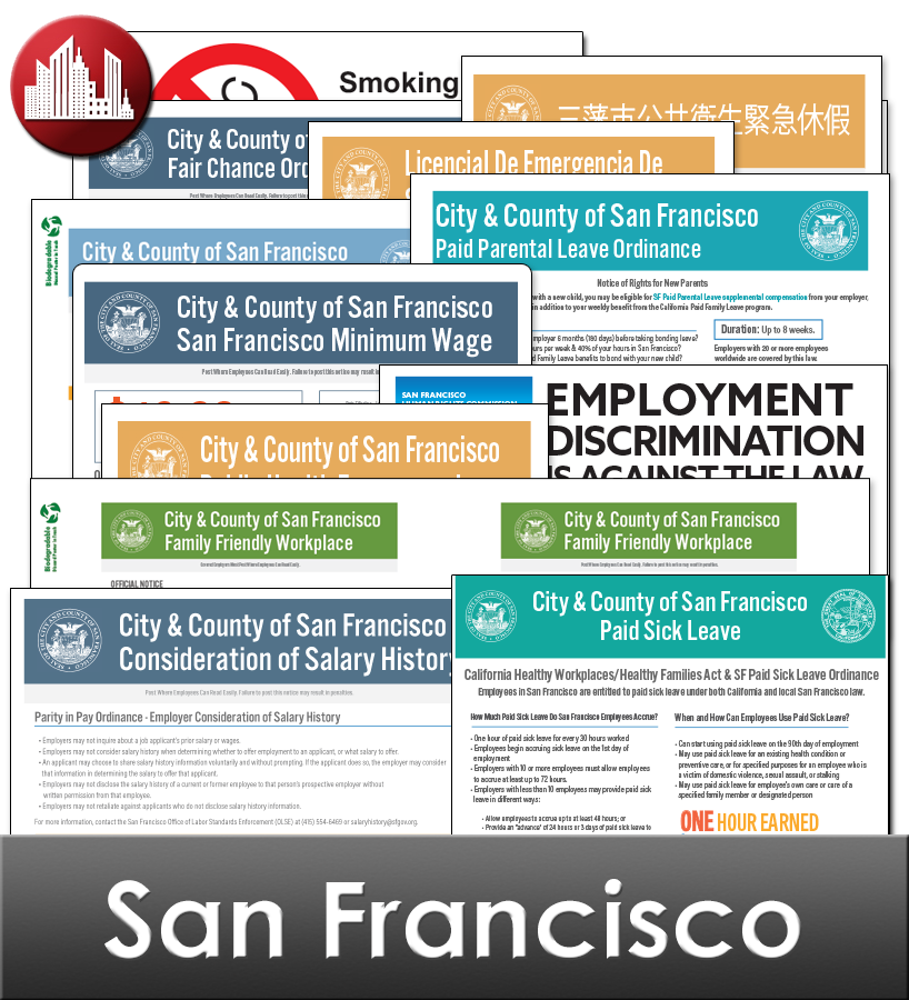 San Francisco City Laminated Workplace Poster Package