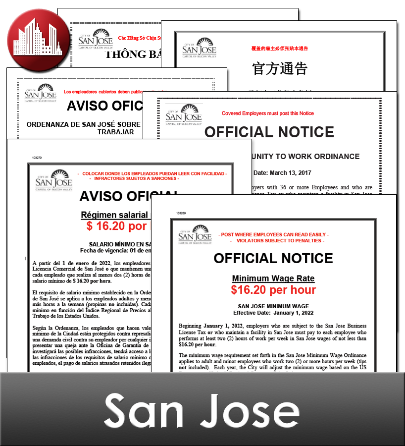 San Jose City Laminated Workplace Poster Package