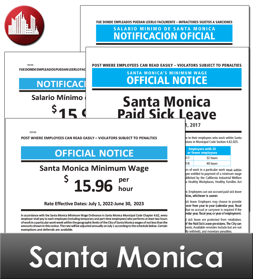 Santa Monica City Laminated Workplace Poster Package