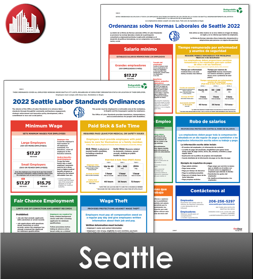 Seattle City Laminated Workplace Poster Package