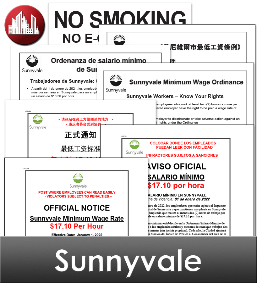 Sunnyvale City Laminated Workplace Poster Package