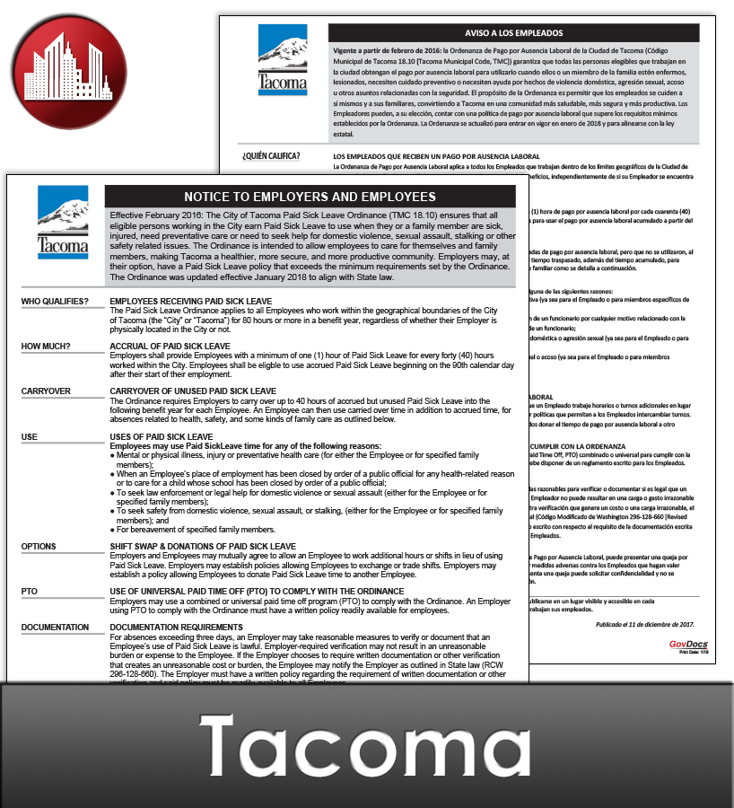 Tacoma City Laminated Workplace Poster Package