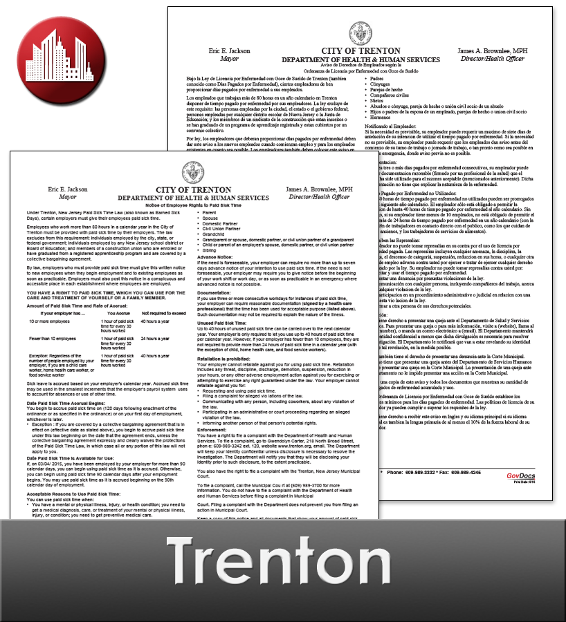 Trenton City Laminated Workplace Poster Package