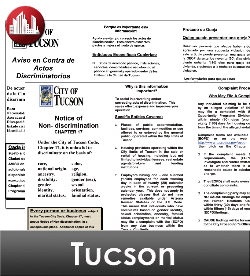 Tucson City Laminated Workplace Poster Package