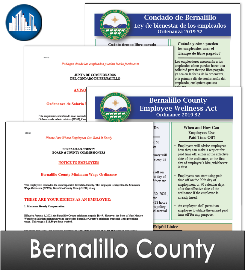 Bernalillo County NM Laminated Workplace Poster Package