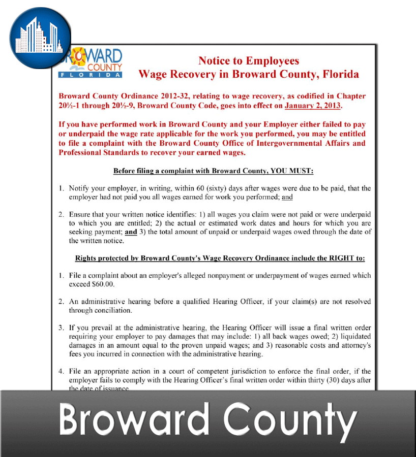 Broward County FL Laminated Workplace Poster Package