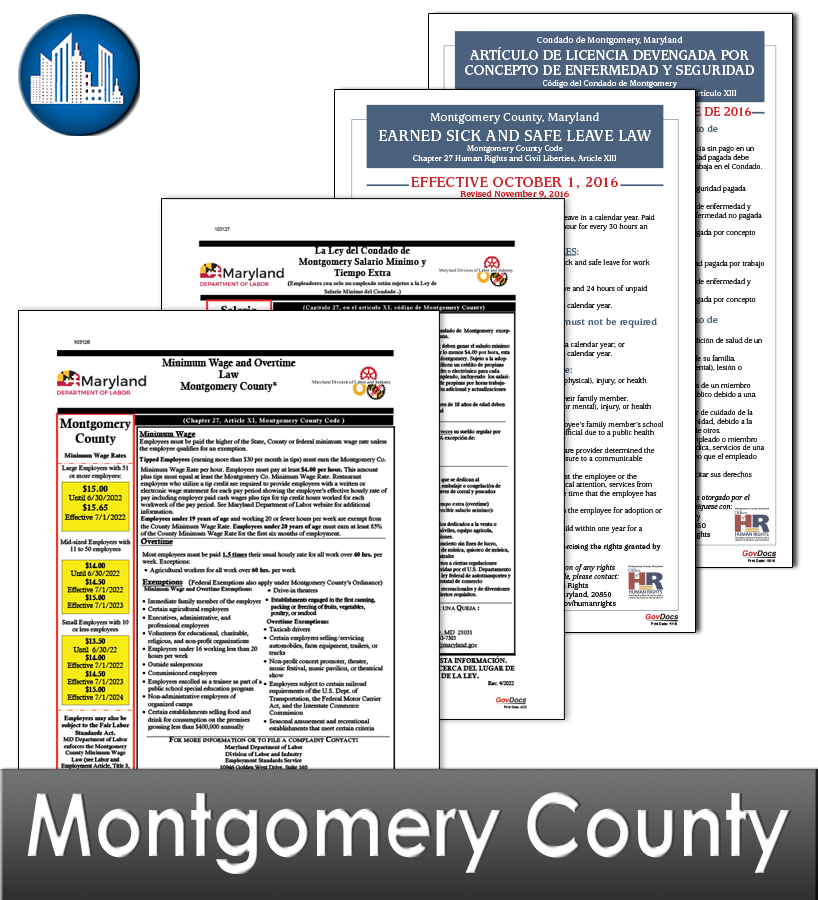 Montgomery County MD Laminated Workplace Poster Package