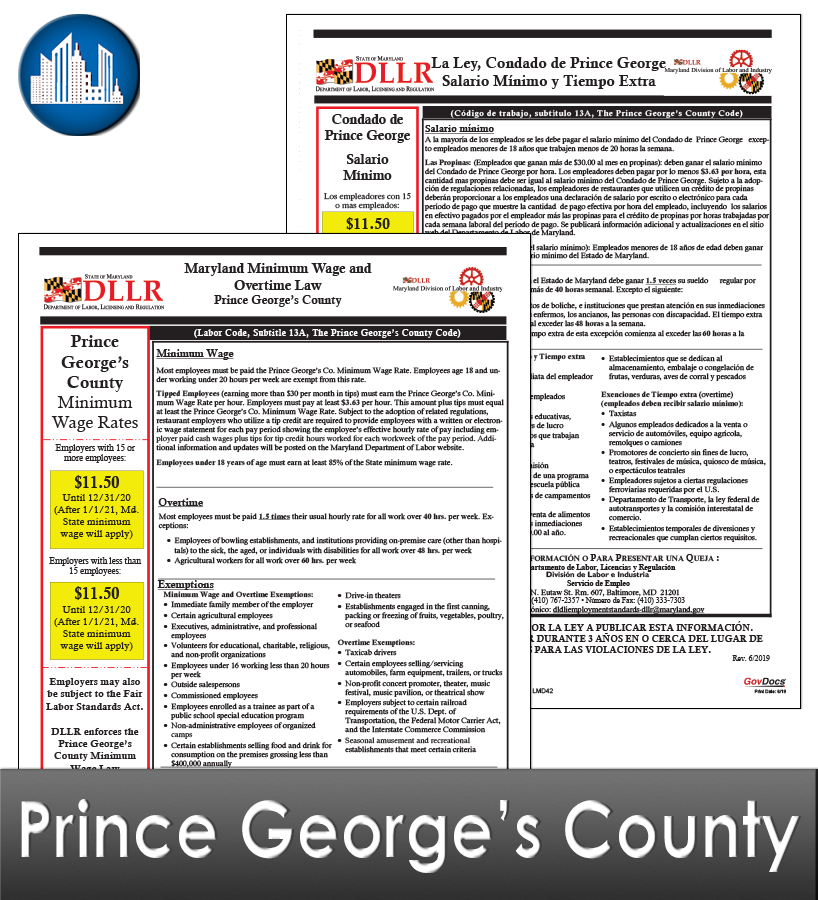 Prince George's County MD Laminated Workplace Poster Package
