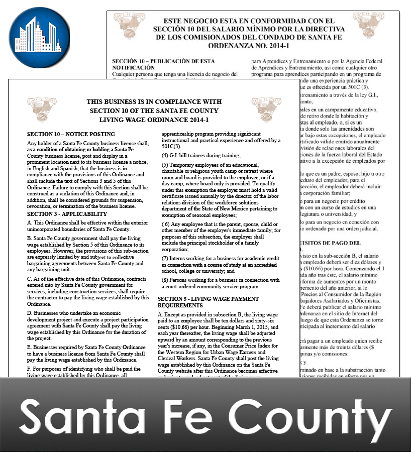 Santa Fe County NM Laminated Workplace Poster Package