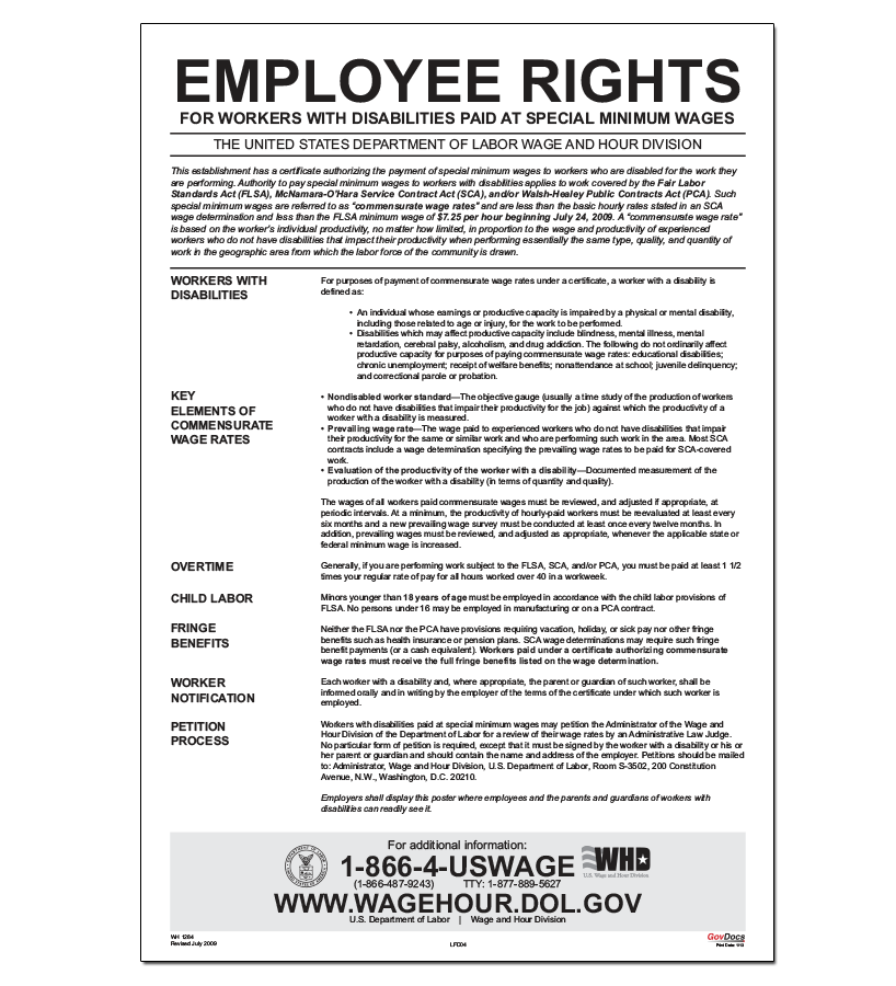 Employee Rights for Workers with Disabilities Paid at Special Minimum Wages Poster