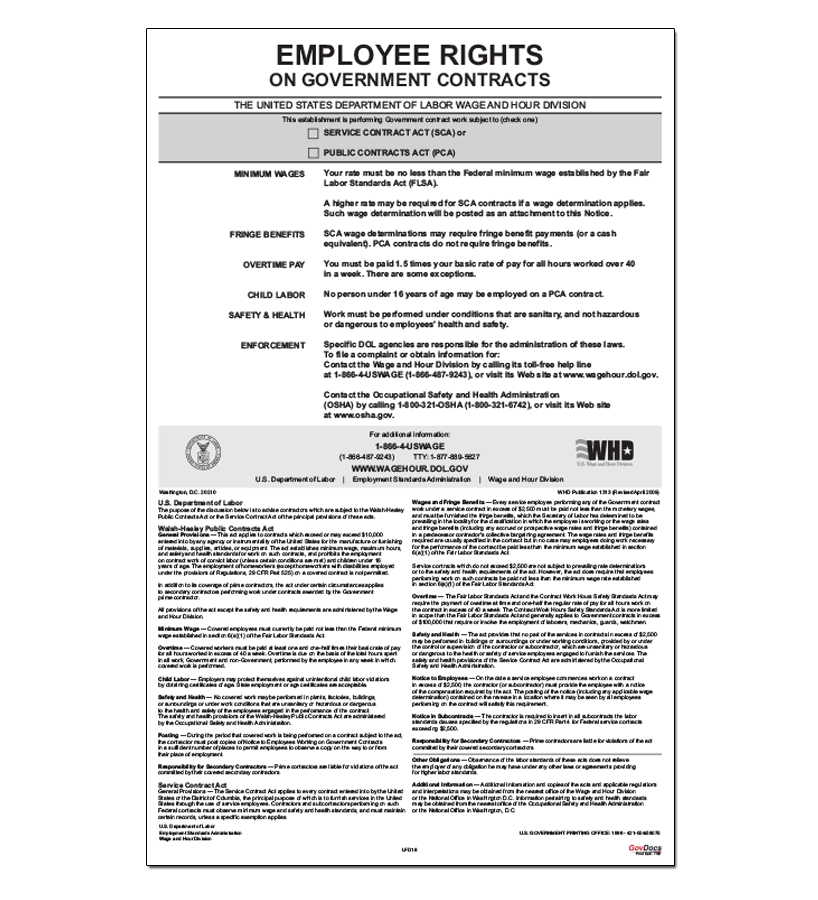 Employment Rights of Government Contractors (Walsh-Healey PCA/SCA) Poster