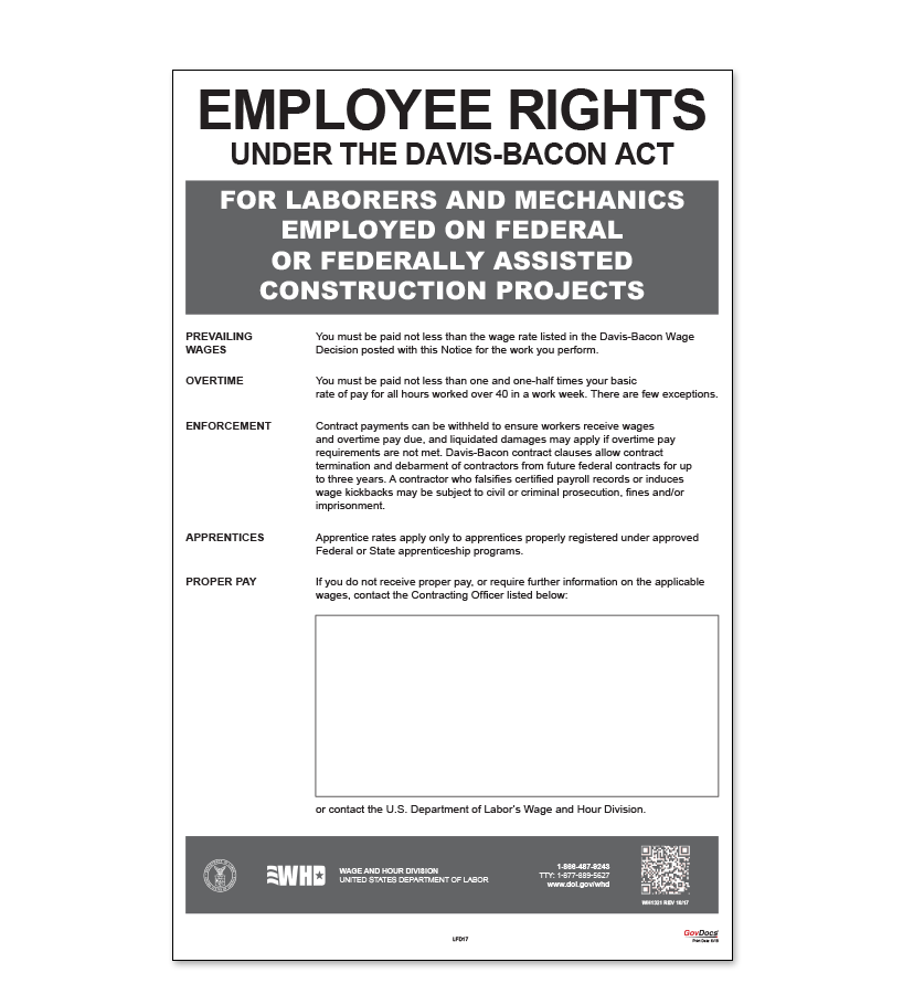 Employment Rights Under the Davis-Bacon Act Poster
