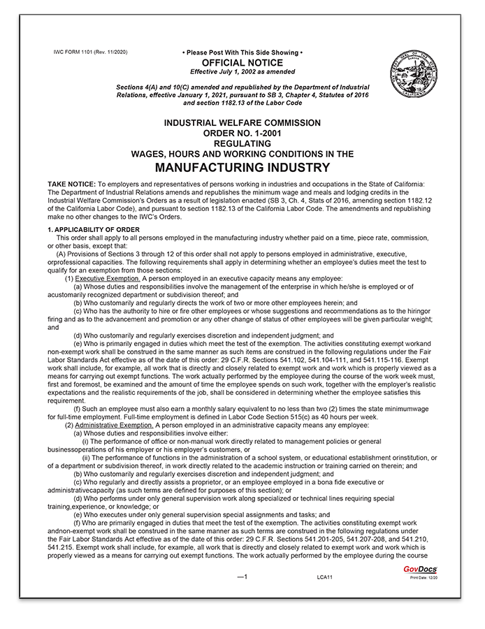 California Wage Order #1 Manufacturing Industry