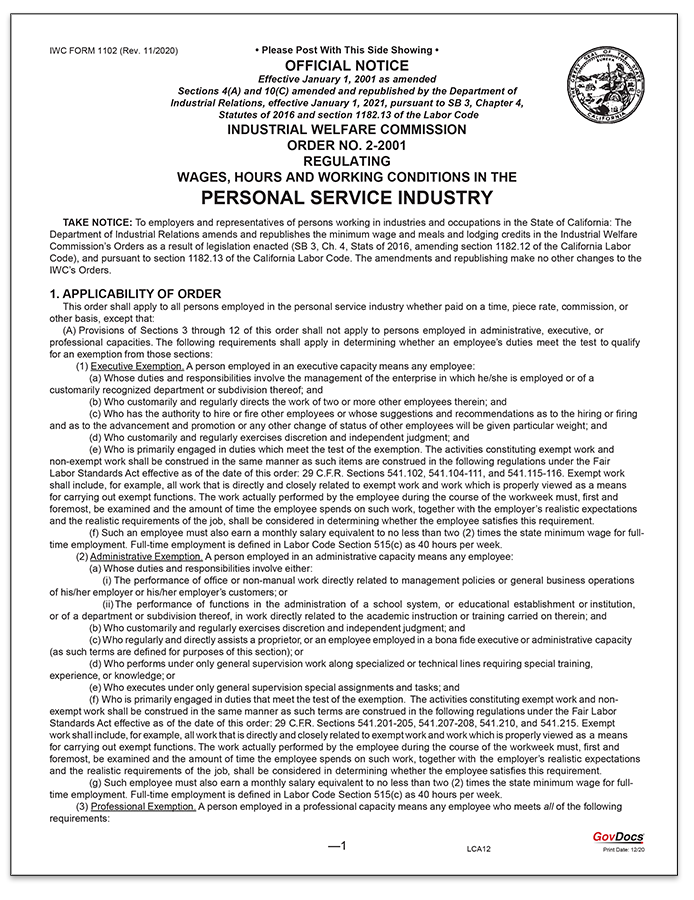 California Wage Order #2 Personal Service Industry
