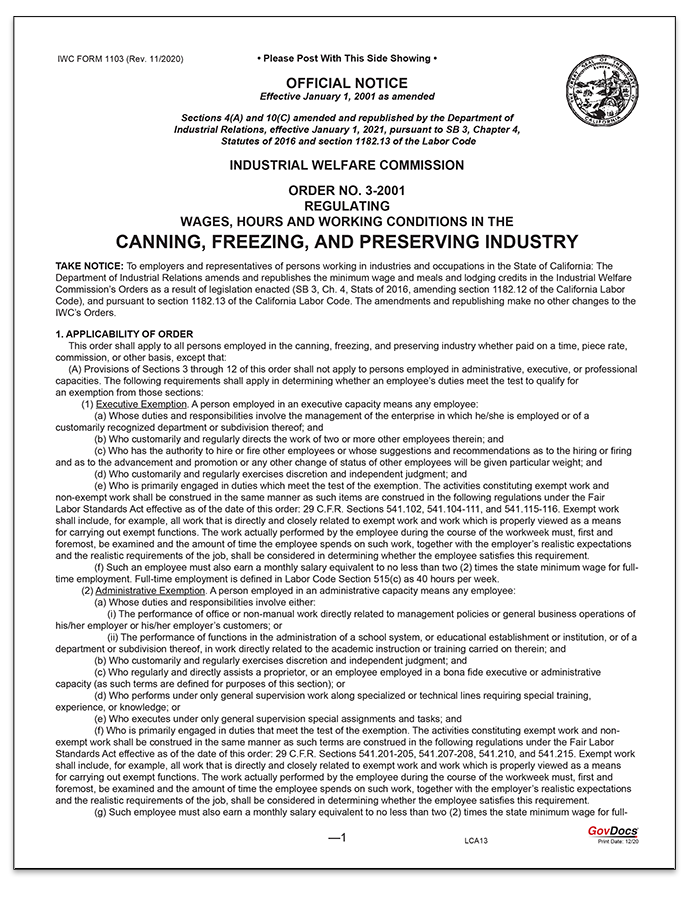 California Wage Order #3 Canning, Freezing and Preserving Industry