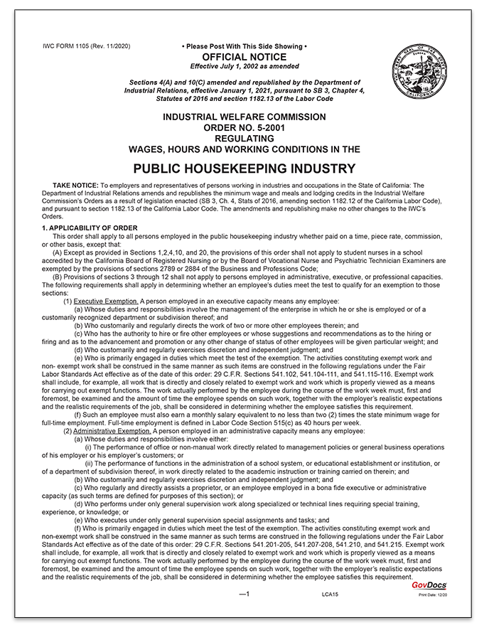 California Wage Order #5 Public Housekeeping Industry