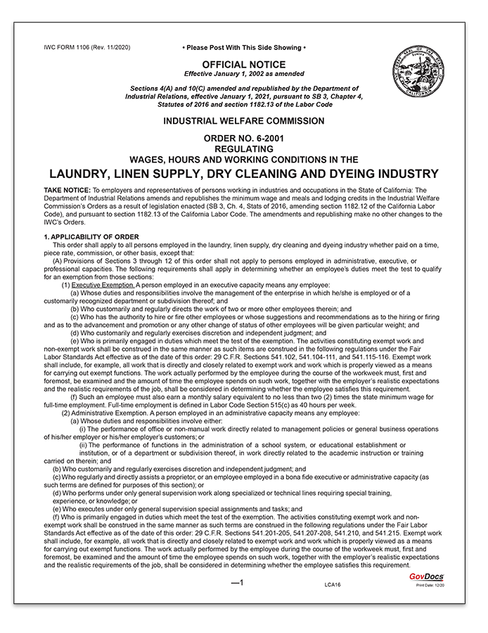 California Wage Order #6 Laundry, Linen Supply, Dry Cleaning and Dyeing Industry
