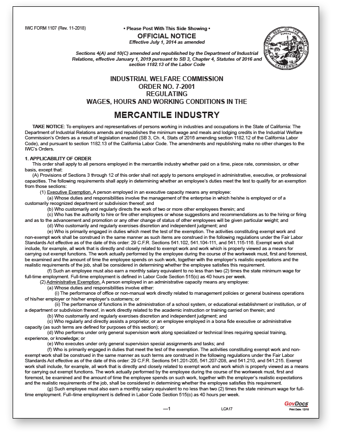California Wage Order #7 Mercantile Industry