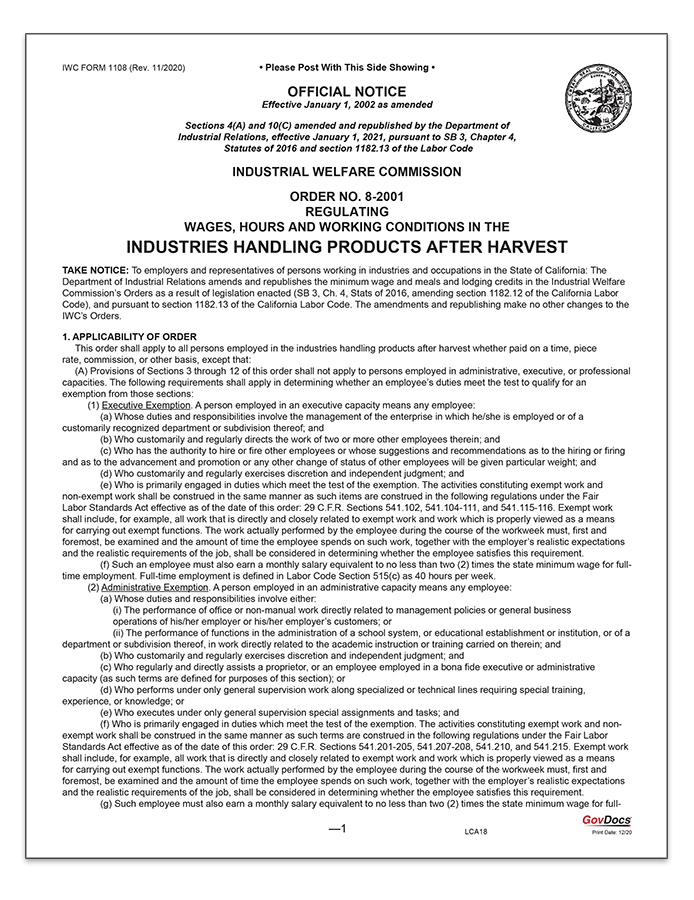 California Wage Order #8 Industries Handling Products After Harvest