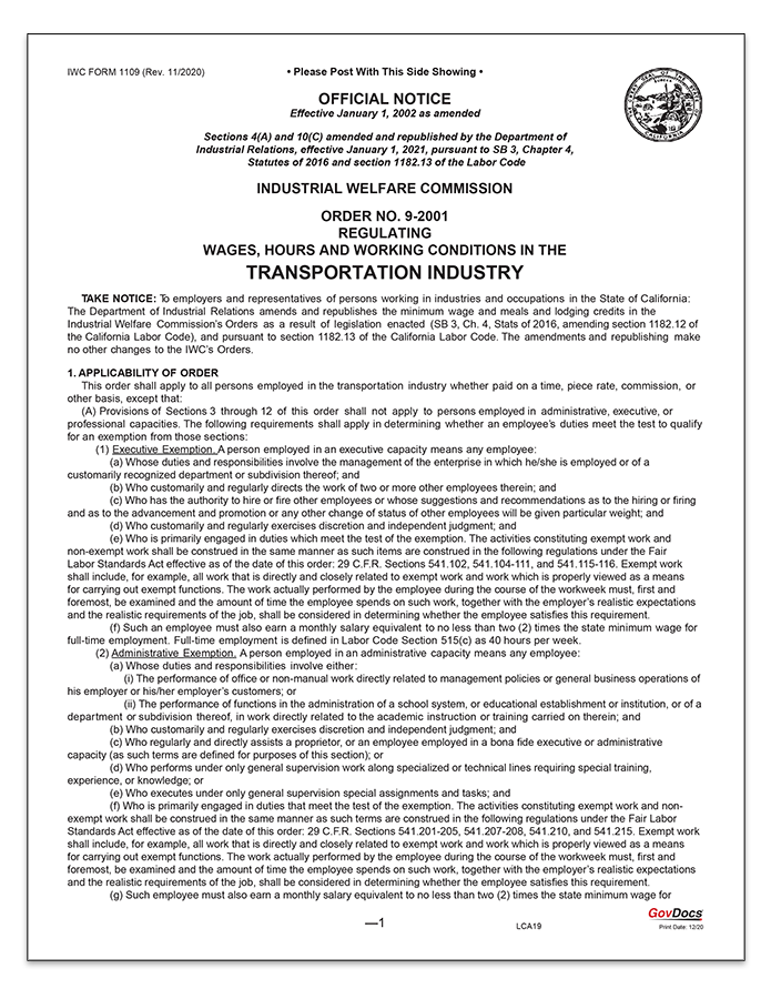 California Wage Order #9 Transportation Industry