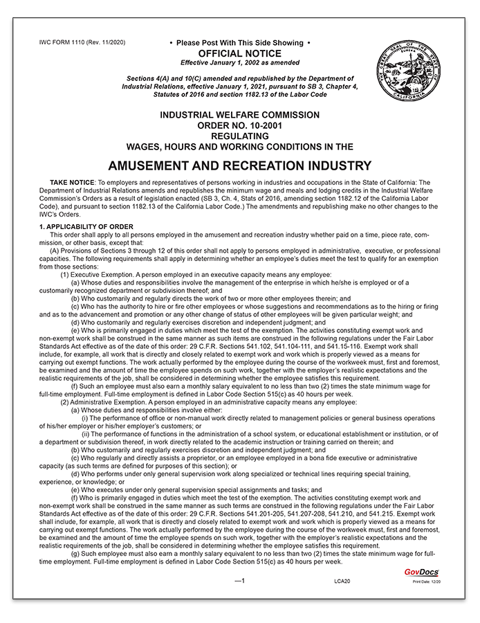 California Wage Order #10 Amusement and Recreation Industry