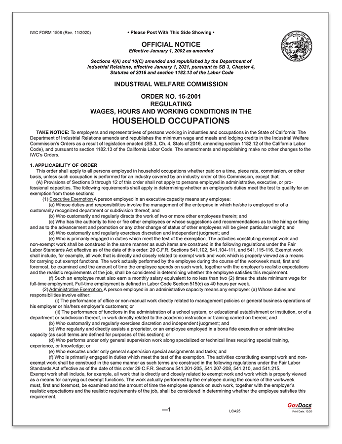 California Wage Order #15 Household Occupations