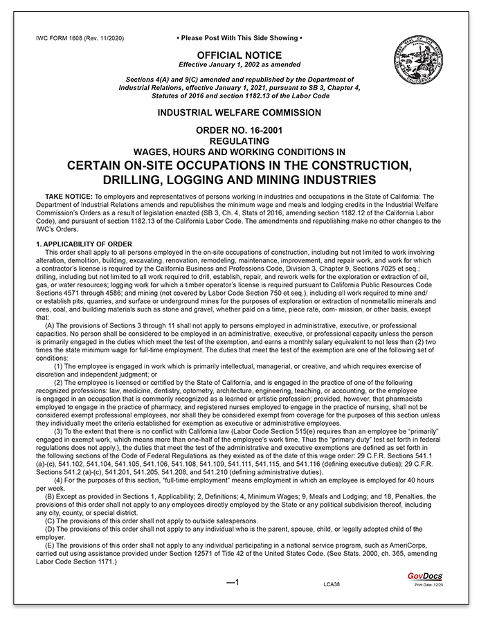 California Wage Order #16 Construction, Drilling, Logging, and Mining Industries