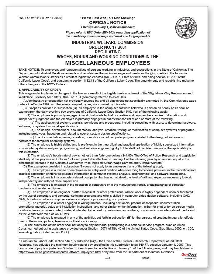 California Wage Order #17 Miscellaneous Employees