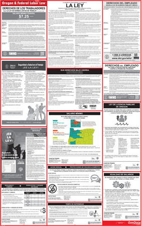Oregon and Federal Laminated Combined Spanish Poster